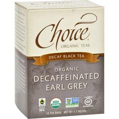 Choice Organic Teas Decaffeinated Earl Grey Tea - 16 Tea Bags - Case Of 6