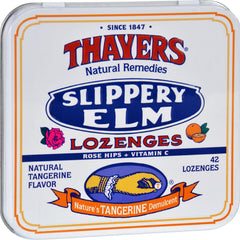 Thayers Slippery Elm Lozenges Tangerine - 42 Lozenges - Case Of 10