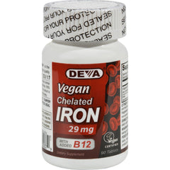 Deva Vegan Vitamins Chelated Iron - 29 Mg - 90 Tablets