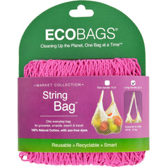 Ecobags String Bag - Long Handle Fuscia - 8 In X 8 In - Case Of 10