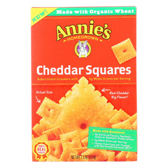 Annie's Homegrown Cheddar Squares Baked Snack Crackers - Case Of 12 - 7.5 Oz.