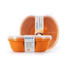 Preserve Small Square Food Storage Container - Orange- 2 Pack