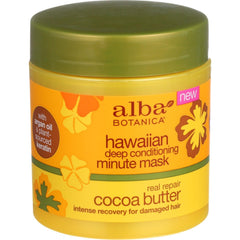 Alba Botanica Deep Conditioning Minute Mask - Hawaiian - Real Repair Cocoa Butter - 5.5 Oz