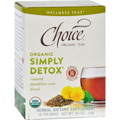 Choice Organic Teas - Organic Simply Detox Tea - 16 Bags - Case Of 6