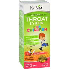 Herbion Naturals Throat Syrup - All Natural - Cherry - For Children - 5 Oz