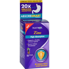 Natrol Zinc - High Absorption - 60 Chewable Tablets