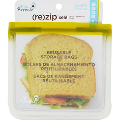 Blue Avocado Lunch Bag - Re-zip Seal - Green - 2 Pack