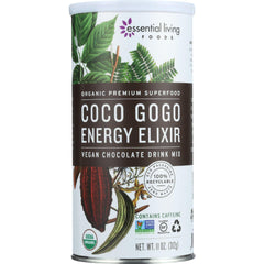 Essential Living Foods Drink Mix - Organic - Vegan - Chocolate - Coco Gogo Energy Elixir - 11 Oz - 1 Each