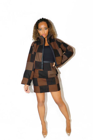 PATCHWORK TWO PIECE SET BLOCK CHOCO - VOLITION