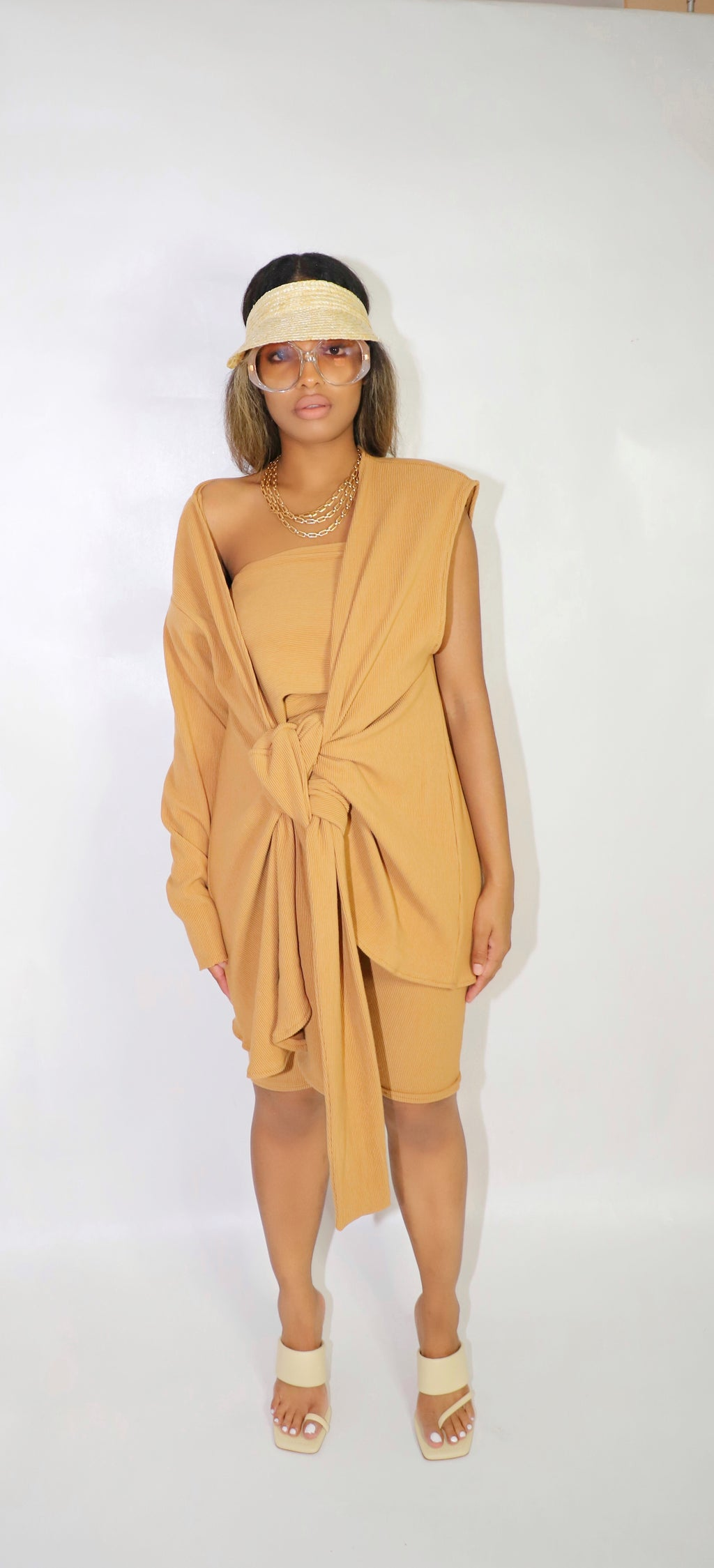 VOLITION RIBBED DRESS CAMEL