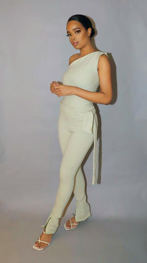 HIGH WAIST ROPE PANTS SAGE GREEN - VOLITION