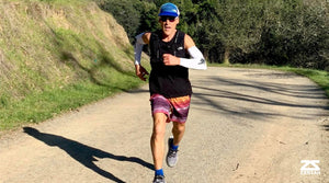Ultramarathoner Dean Karnazes running with Zensah White Sun Sleeves on