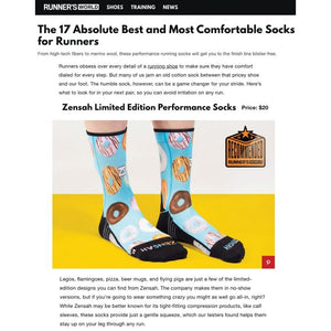 Zensah Donut mini crew running socks featured in Runner's World