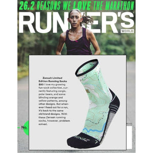 Zensah Limited Edition Topography Mini crew socks featured in Runner's World
