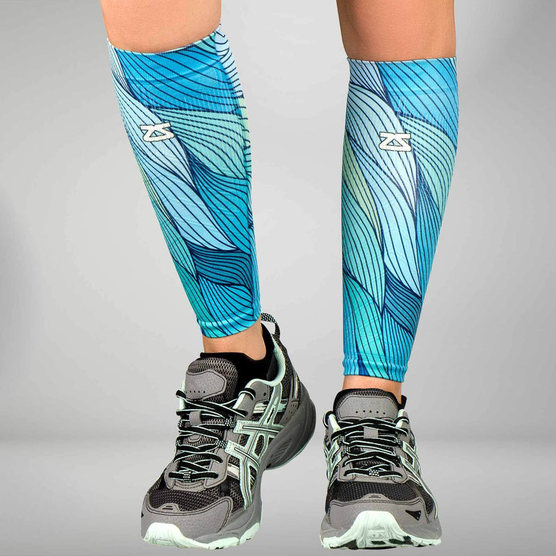 Abstract Waves Compression Leg SleevesLeg Sleeves - Zensah