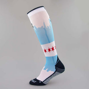 Chicago Flag Skyline Compression Socks (Knee-High)