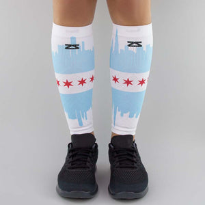 Chicago Flag Skyline Compression Leg Sleeves