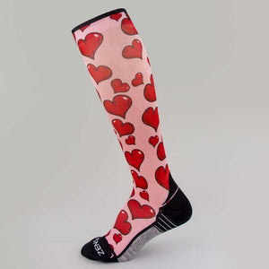 Pink Hearts Valentine's Compression Socks (Knee-High)
