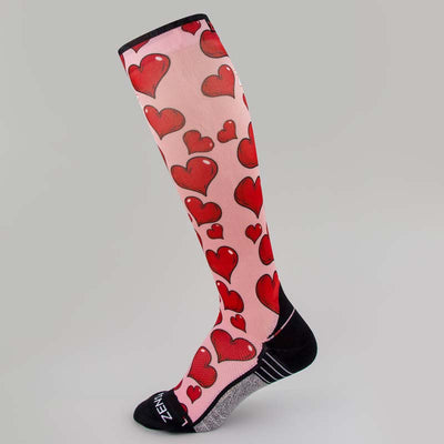 Pink Hearts Valentine's Compression Socks (Knee-High)Socks - Zensah
