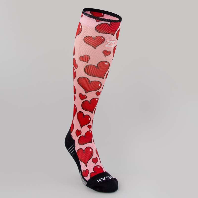 Pink Hearts Compression Socks (Knee-High)