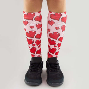 Pink Hearts Valentine's Compression Leg Sleeves