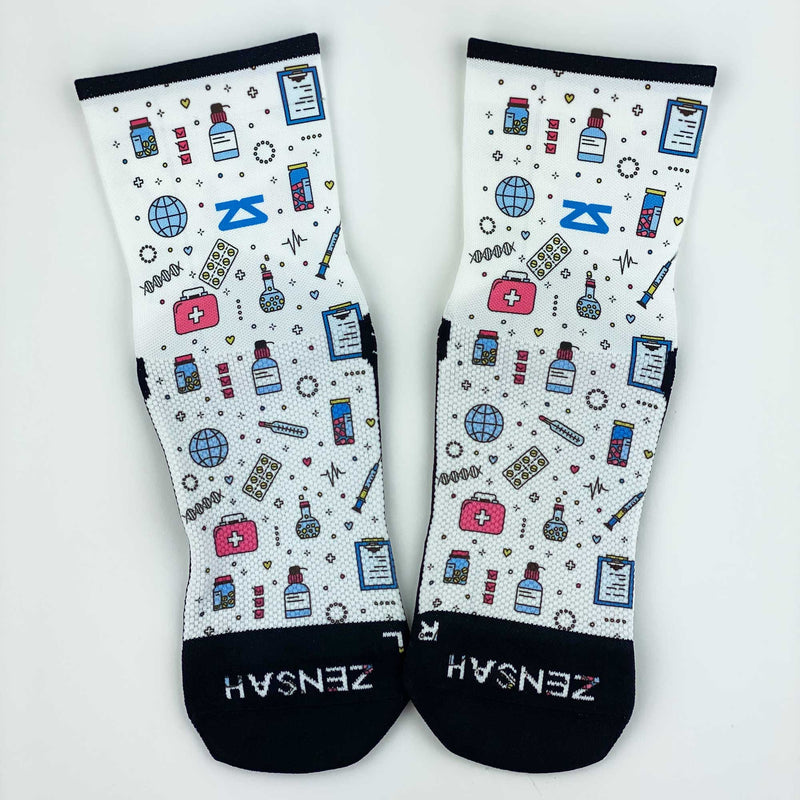 Medical Doodle Running Socks (Mini Crew)