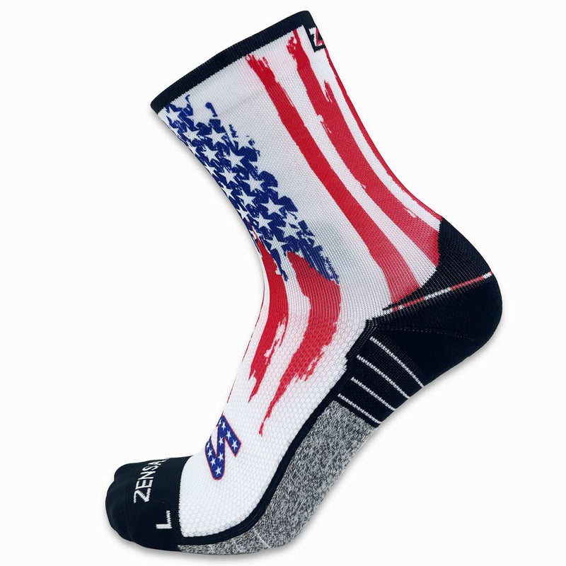 Rugged USA Flag Running Socks (Mini-Crew)