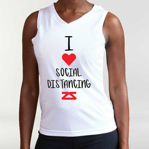 "Women's ""I Love Social Distancing"" Singlet"