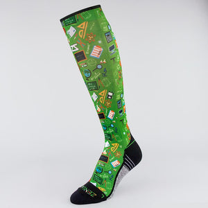School Collage Compression Socks (Knee-High)