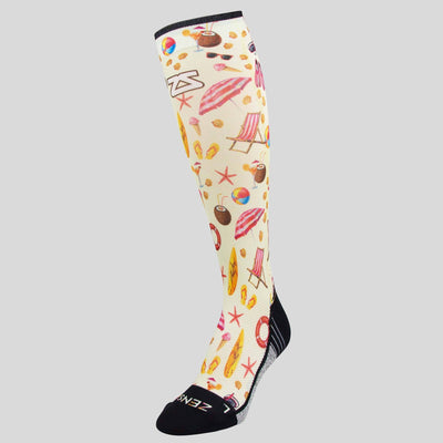 Beach Collage Compression Socks (Knee-High)