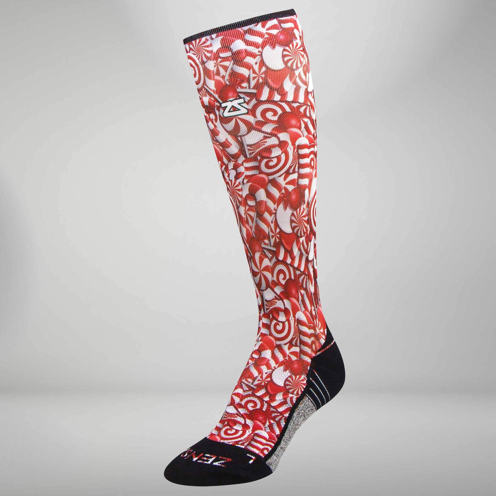 Candy Canes Compression Socks (Knee-High)