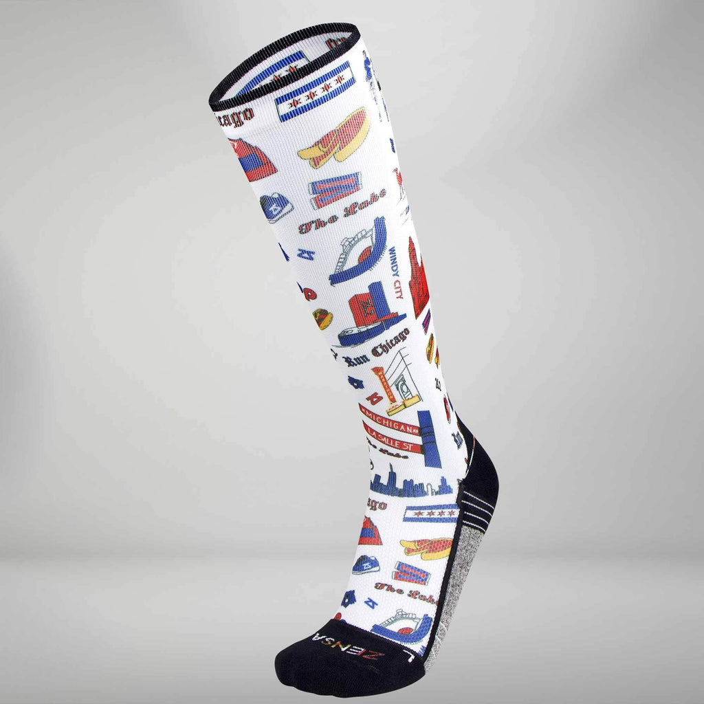 Chicago Doodle Compression Socks (Knee-High)