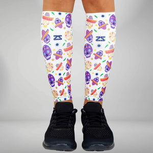 Day Of The Dead Doodle Compression Leg SleevesLeg Sleeves - Zensah