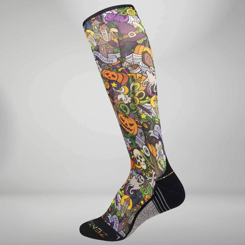 Halloween Collage Compression Socks (Knee-High)