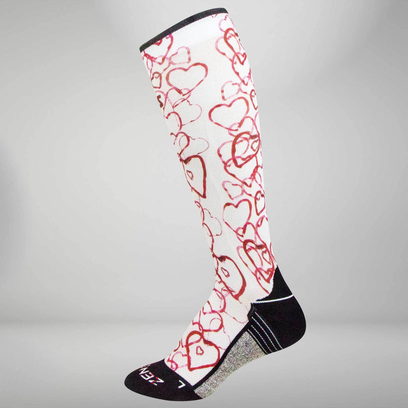 Abstract Hearts Compression Socks (Knee-High)