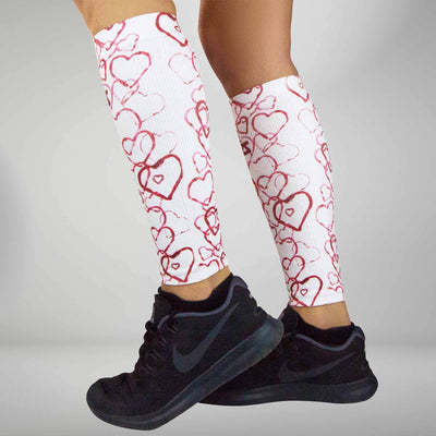 Abstract Hearts Compression Leg Sleeves