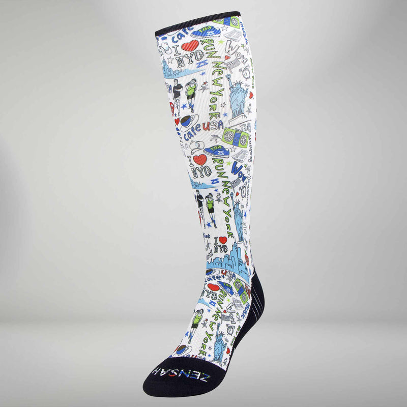 New York Doodle Compression Socks (Knee-High)