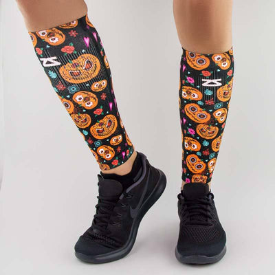 compression leg sleeves pumpkin-themed for halloween