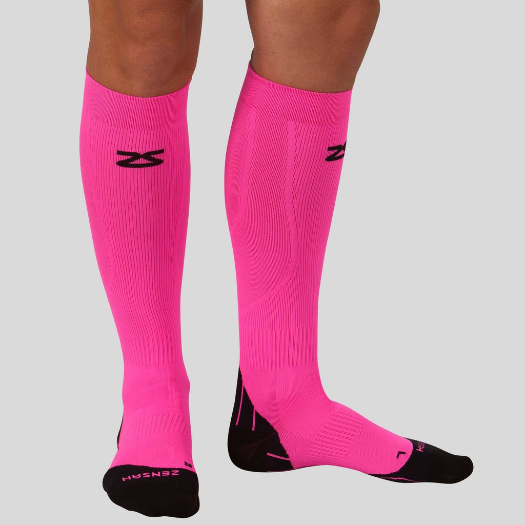 2V2B Zensah Tech Compression Sock Neon Pink New Exclusive High-End