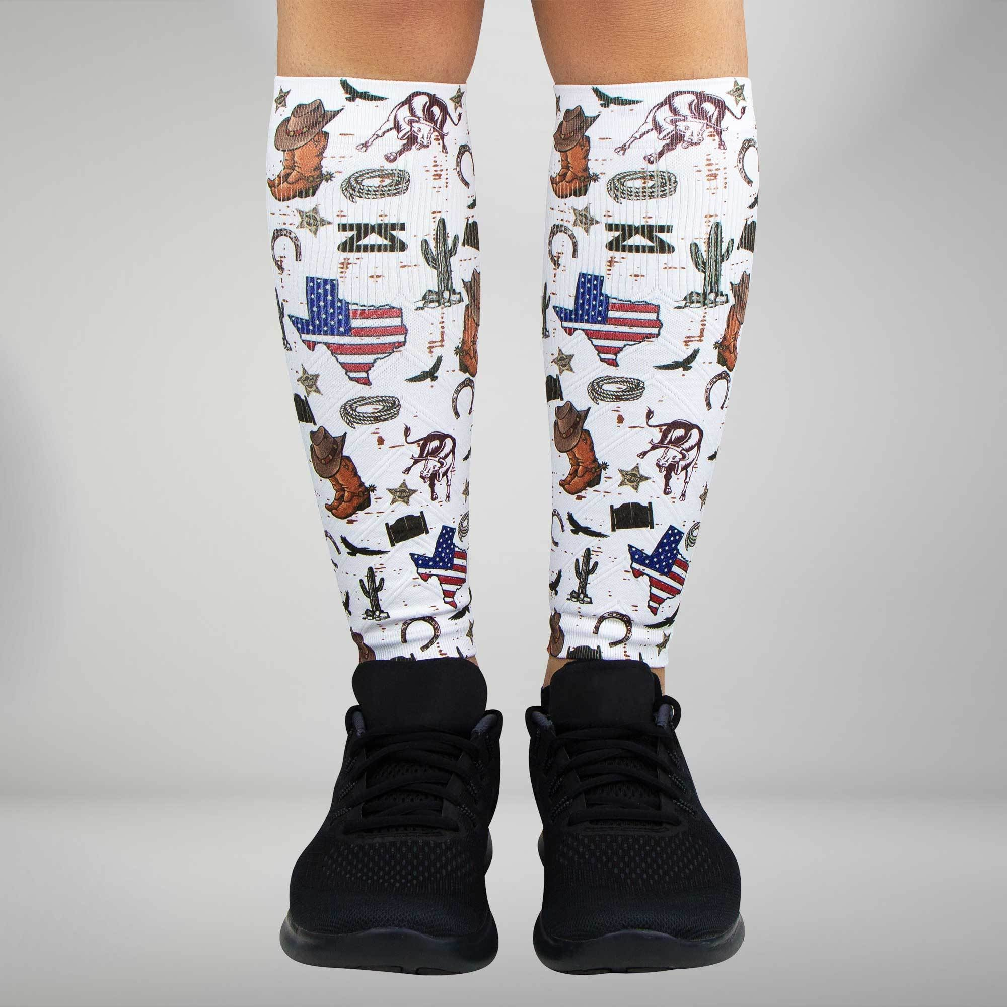 Texas Collage Compression Leg Sleeves