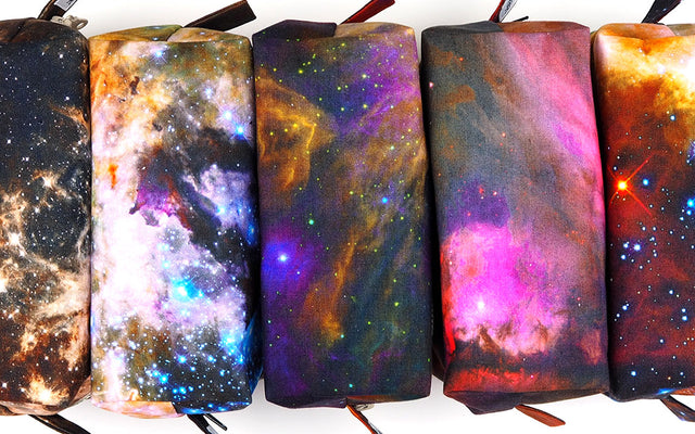 Hubble telescope images on one of a kind handmade bags