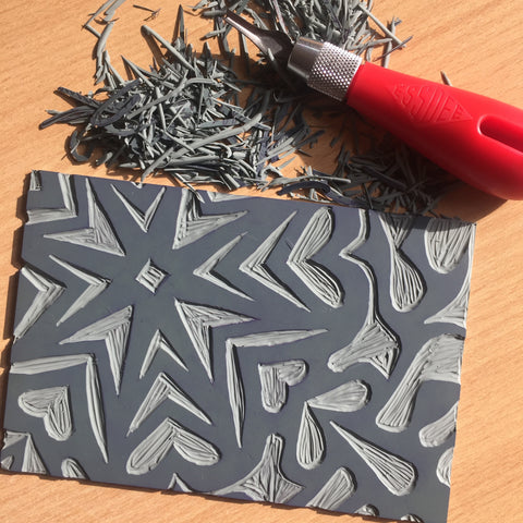 Carved lino print block
