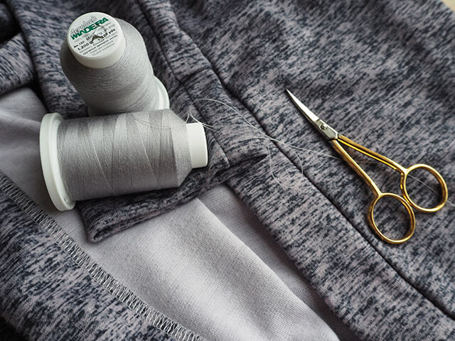 Handmade grey marl jersey cardigan using Madeira sewing threads