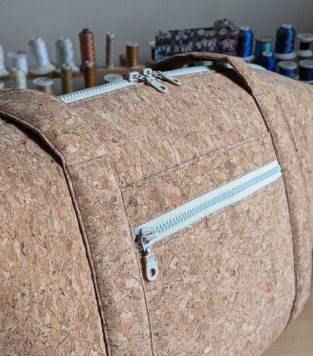 Handmade cork leather weekend bag with zip pockets