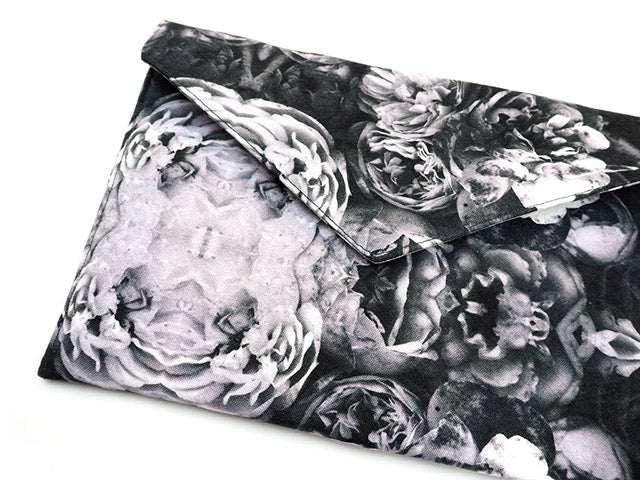 Handmade grey rose print clutch bag tablet cover