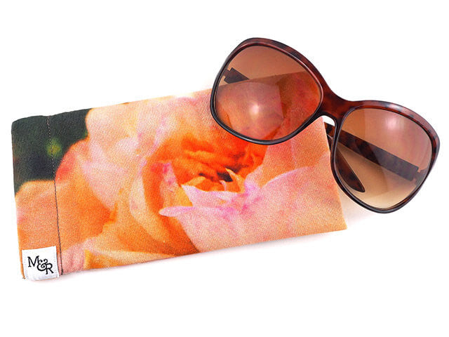 Handmade glasses case in pink rose print