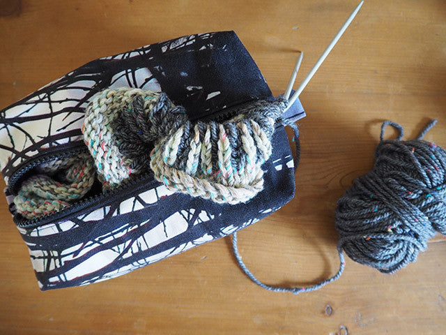 Handmade bag with knitting project