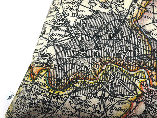 Handmade digitally printed map print cushion