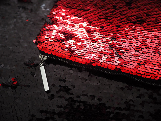 Handmade red sequinned clutch bag with silver zip