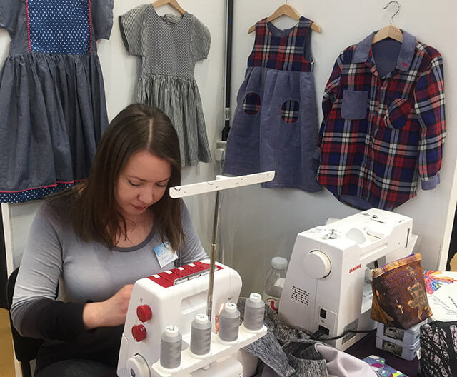Me sewing on an overlocker machine